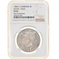 Monnaie, Cambodge, 4 Francs, 1860, ESSAI, NGC, PF63, SPL, Argent, KM:E9 - Cambodia