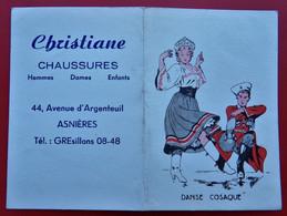 95 ARGENTEUIL Calendrier Christiane CHAUSSURES DANSE COSAQUE Illustrateur - Tamaño Pequeño : 1941-60