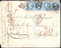 N° 22 Obl  BORDEAUX Gironde Lettre TAXEE 30 TAMPON ROUGE !!! Pour Le Consul De France à Carthagene ESPAGNE - 1849-1876: Période Classique