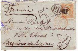 12 C Lettre D' ESPAGNE TAXEE 5 TAMPON Pour Bagneres De Bigorre Hautes Pyrenees 1867 ( Verso Transit Madrid ) - 1849-1876: Période Classique