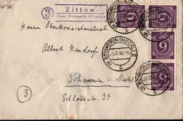! 23.12.1946 Brief Aus Schwerin, Mecklenburg, Gemeinschaftsausgaben, Landpoststempel Zittow über Schwerin - Amerikaanse, Britse-en Russische Zone