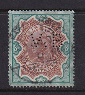 India: 1895   QV      SG108    3R   Brown & Green    Used Perfin - 1882-1901 Imperio