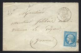 FRANCE 1865: LSC De Montereau Avec Le Y&T 22 - 1862 Napoleon III