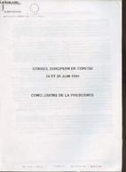 Conseil Européen De Corfou 24 Et 25 Juin 1994- Conclusions De La Présidence - Collectif - 1994 - Storia