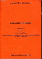Annuaire Des Personnels Enseignant, A.T.O.S; I.T.A; Type CNRS Dont Les Traitements Sont Liquidés Par Le Service Compatbl - Annuaires Téléphoniques