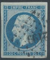 Lot N°59555  N°14Ad Bleu Foncé/vert, Oblit PC 2199 Mulhouse, Haut-Rhin (66), Belles Marges - 1853-1860 Napoléon III