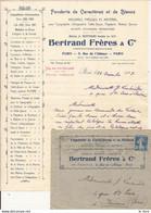 PARIS 75 FACTURE TARIFS ET ENVELOPPE FONDERIE DE CARACTERES ET DE BLANCS BERTRAND 1925 - France - 1925 - Other