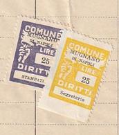 Mugnano Di Napoli. 1967. Marche Municipali (marca Comunale) Diritti Di Segreteria L. 25 + Stampati L. 25, Su Documento - Otros