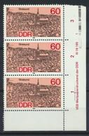 DDR 3x3164 Eckrand Mit Druckvermerk ** Postfrisch - Unused Stamps