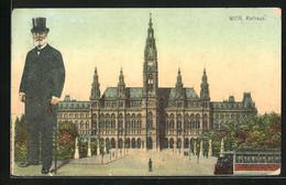 AK Wien, Rathaus Und Portrait Bürgermeister Carl Lueger - Hombres Políticos Y Militares