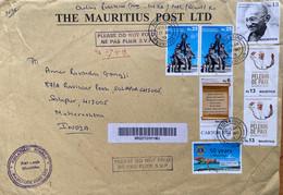 Mauritius 2019 Gandhi Stamp Registered Cover To India. - Mahatma Gandhi