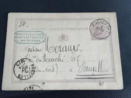 Postkaart EC Rochefort 7 OCTO 1875 - Bruxelles - Cartoline [1871-09]
