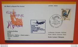 AUSTRALIEN 690 Vogel Tiere -- FFC LH 691 DC 10 - Sydney 02.04.1980 - Kuala Lumpur -- Brief Cover (2 Foto)(38815) - Storia Postale