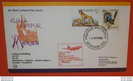 AUSTRALIEN Vogel Dingo Tiere -- FFC LH 691 DC 10 - Melbourne 02.04.1980 - Kuala Lumpur -- Brief Cover (2 Foto)(38816) - Storia Postale