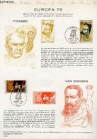 DOCUMENT PHILATELIQUE OFFICIEL N°12-75 - EUROPA 75 - PICASSO - VAN DONGEN (N°1840-41 YVERT ET TELLIER) - FORGET P. - 197 - Lettres & Documents