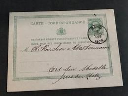 Postkaart Leopold II 10c - EC Gand - Metz (Fra) 2 Juin 1876 - Postkaarten [1871-09]