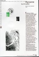 DOCUMENT PHILATELIQUE OFFICIEL - MARIANNE DU 14 JUILLET (N°3535A YVERT ET TELLIER) - LUQUET E. - JUMELET C. - 2002 - Lettres & Documents