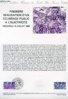 DOCUMENT PHILATELIQUE OFFICIEL N°29-82 - PREMIERE REALISATION D'UN ECLAIRAGE PUBLIC A L'ELECTRICITE GRENOBLE 14 JUILLET - Lettres & Documents