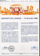 DOCUMENT PHILATELIQUE OFFICIEL N°29BIS-89 - SOMMET DE L'ARCHE - 14-16 JUILLET 1989 (N°2600 YVERT ET TELLIER) - *** - 198 - Lettres & Documents