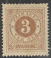 Sweden   1872  Sc#17  3ore  MNG   2016 Scott Value $80 - Neufs