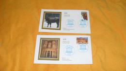LOT 2 ENVELOPPES FDC DE 2005.../ UNESCO...JORDANIE PETRA, POLOGNE FORET BIALOWIEZA...CACHETS + TIMBRE - 2000-2009