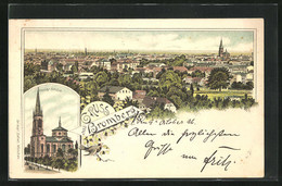 Lithographie Bromberg / Bydgoszcz, Teilansicht, Pauls-Kirche - Westpreussen