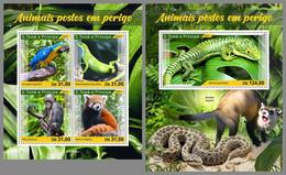 SAO TOME 2021 MNH Endangered Species Bedrohte Tierarten Espèces Menacées M/S+S/S - OFFICIAL ISSUE - DHQ2113 - Otros