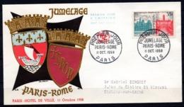 FDC FRANCE 1958 - N° 1176 - 35 F - Jumelage PARIS - ROME - 1950-1959