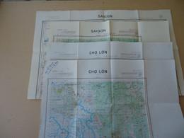 Lot 4 Cartes Routières De L'Indochine - SAIGON No 21 - Saigon Est No 221 -  Cho Lon Est - Cho Lon Ouest No 230 - 1950 - Wegenkaarten