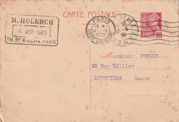 80100 ABBEVILLE EN PROVENANCE DE 75000 PARIS HOLESCH / CARTE POSTALE COMMERCIALE EN 1939 - Abbeville