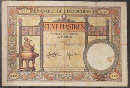 French Indochine Indochina Vietnam Viet Nam Laos Cambodia 100 Piastres VF Banknote Note 1936 - Pick# 51d / 02 Photo - Indochina