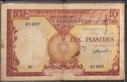 French Indochine Indochina Vietnam Viet Nam Laos Cambodia 10 Piastres VF Banknote Note 1953 - Pick# 102 / 02 Photo - Indochina