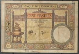 French Indochine Indochina Vietnam Viet Nam Laos Cambodia 100 Piastres VF Banknote Note 1936 - Pick# 51c / 02 Photo - Indochina