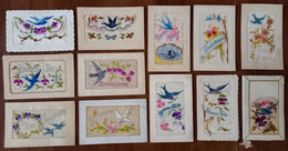 Oiseau Hirondelle, Bird, Vogel, Uccello, Pájaro, Fleurs - 12 Cartes Brodées - Embroidered Card - Carte Brodée - Embroidered