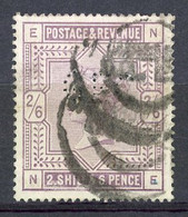 GB -1883- Yv. N° 86 SG N°178  Fil Ancre, Anchor (o)  2/6s Violet  Perfo GEC  Cote 150 Euro Ou 140 £ Euro  BE  2 Scans - Usados