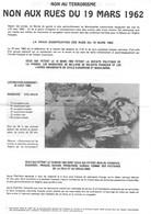 Guerre D'algerie - Propagande - Tract - Terrorisme - 19 Mars 1962 - Autres