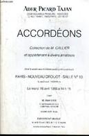 CATALOGUE DE VENTE AUX ENCHERES - NOUVEAU DROUOT - ACCORDEONS - COLLECTION DE M. CALLIER ET APPARTEMENT A DIVERS AMATEUR - Arte
