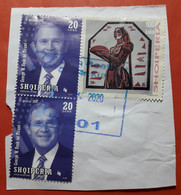 2020 ALBANIA 2 Stamps On Piece Of Envelope City Seal KUKES, Used (10) - Albania
