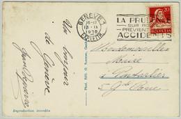 Schweiz / Helvetia 1930, Ansichtskarte Genève - Pontarlier (Frankreich), Caution On The Road Prevents Accidents - Incidenti E Sicurezza Stradale