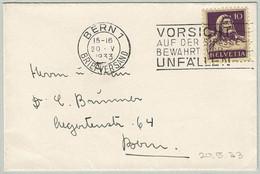 Schweiz / Helvetia 1933, Brief Bern, Prudence Sur Route Previent Les Accidents / Caution On The Road Prevents Accidents - Incidenti E Sicurezza Stradale