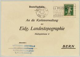 Schweiz / Helvetia 1934, Postkarte Lausanne - Bern, Caution On The Road Prevents Accidents - Incidenti E Sicurezza Stradale