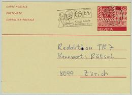 Schweiz / Helvetia 1986, Ganzsachenkarte Olten - Zürich, Unfallverhütung/Accident Prevention, Helm/ Casque/Helmet - Incidenti E Sicurezza Stradale