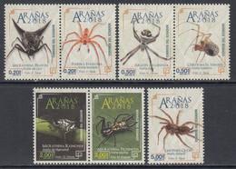 2018 Ecuador Spiders Arachnids Complete Set Of 7 MNH - Equateur