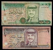 JORDAN BANKNOTE - 2 NOTES 1/2 & 1 DINAR 1992 P#23a-24a F/VF (NT#03) - Jordan