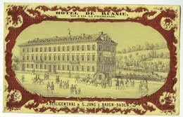 DE 556 - Carte Porcelaine Sur Papier D'Hotel De Russie, Baden-Baden. - Unclassified