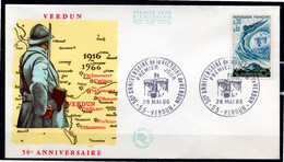 FDC FRANCE 1966 - N° 1484 - Cinquantenaire De La Victoire De Verdun - 1960-1969