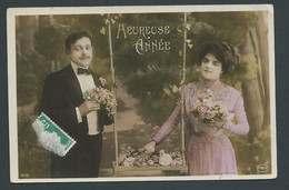 Couple , Bouquets De Fleurs , Balançoire  , Heureuse Année-  Gaq 87 - Couples