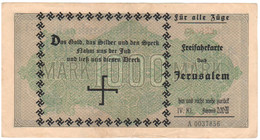 "WW2 Germany Nazi ""One Way Ticket To Jerusalem"" Propaganda FORGERY Overprint On Genuine 1000 Mark 1923 Banknote VF - Other"
