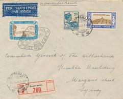 Nederlands Indië - 1931 - 3 Zegels Op R-cover Met 1e Vlucht Abel Tasman Van Soerabaja Naar Sydney / Australia - Niederländisch-Indien