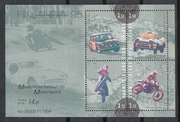 FINLANDIA 1994 - DEPORTES DE MOTOR - YVERT Nº 1263/1266** - BF-16** - SPECIMEN - Nuovi